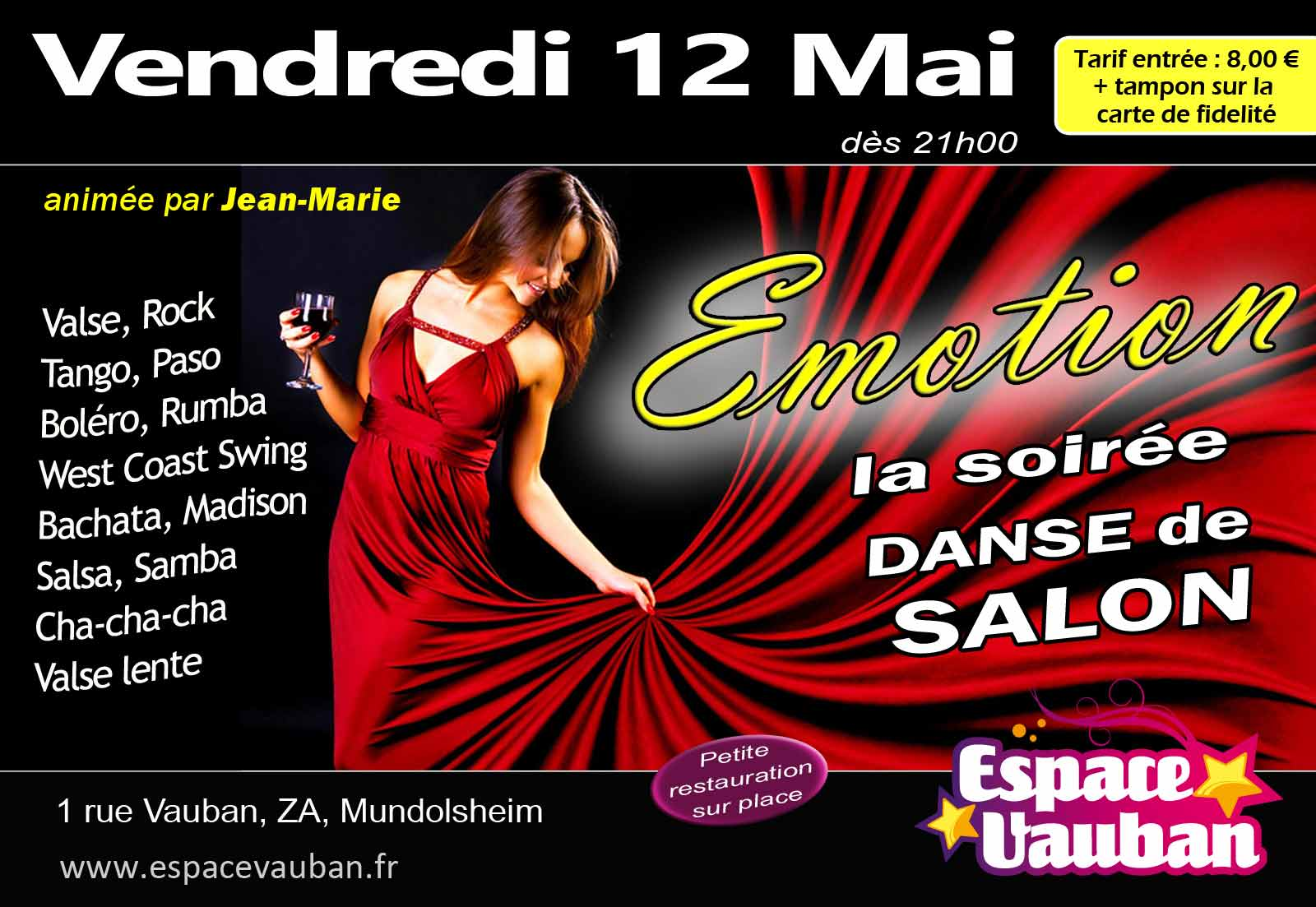 Emotion danse de salon avec jean marie espace vauban for Jean marie salon